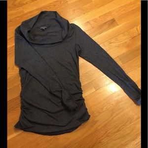 LILLA P rouched charcoal tunic. NWOT!